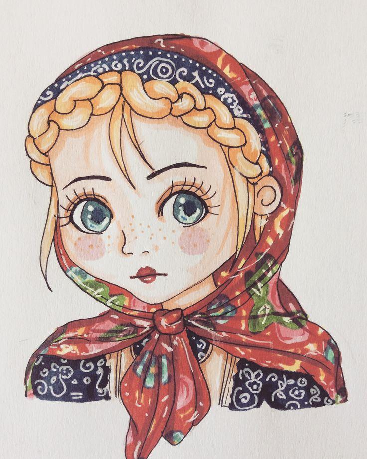 #drawing #art #russian #anime #chibi #matryoshka #copic #marker