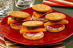 You'll be the party hero, with these Mini-sized, tasty hero turkey sandwiches on RITZ Crackers.