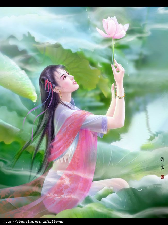 * Lotus  by ~Hiliuyun *: Fantasy Art, Goddesses Fairies, Hiliuyun Deviantart Com, Art Oriental, Women Art, Art Fantasy, Art Galleries, Art Realm, Lotus Flower