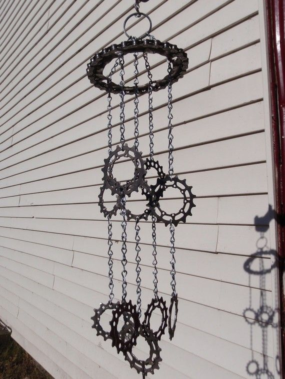 Bicycle Parts Wind Chime  steel chain by rocknrootcycle on Etsy