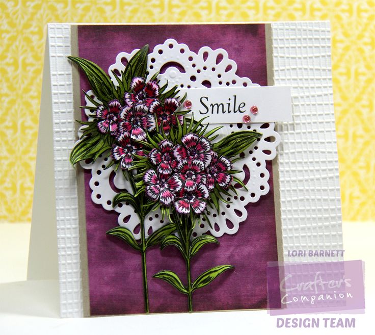 """Designed by Lori Barnett. Crafter's Companion USA - Sheena Perfect Partners Victorian Floral Sweet William Stamps and Dies; Die'sire Circle Doiley Die, Textures Embossing Folder, Spectrum Noir Markers and eBrush CG1, CG2, CG3, DG4, DR5, PP5, DR7, Scruffy Little Cat 6"""" 6"""" Paper Pack. @CraftersCompUS #Crafterscompanion #sheenadouglass #spectrumnoir"""