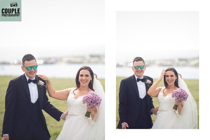 The newlyweds have a laugh in front of the camera. Weddings at The Radisson Galway photographed by Couple Photography.