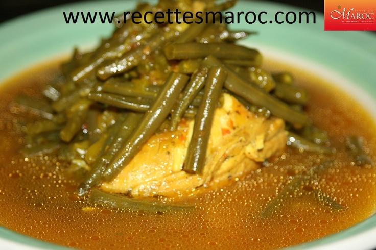 Tajine de poulet aux haricots verts   http://www.recettesmaroc.com/recettes/plats/poulet-aux-haricots-verts