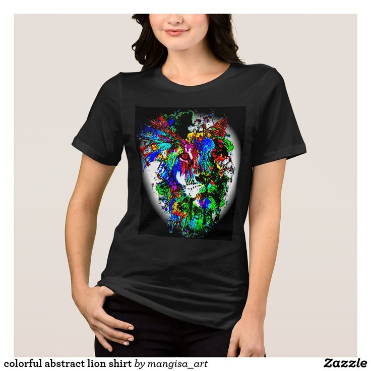 colorful abstract lion shirt