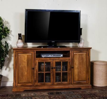 "3474RB-64 64"" TV Console with Center Speaker Open Space 2 Glass Doors and Adjustable Shelves in Rustic Birch Finish"
