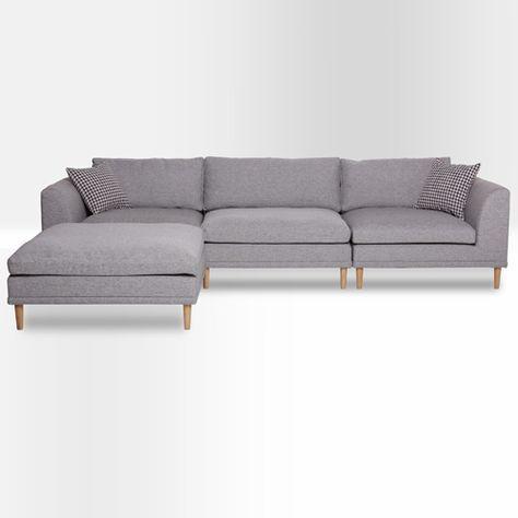 Canapé d'angle droit ou gauche en tissu Axel - Gris chiné