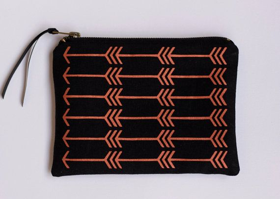 Feather arrow pouch in metallic copper  and black - screen printed and handmade