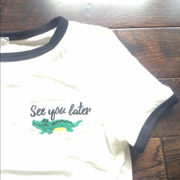 See you later alligator crop top✌️ Super cute. Crop top! Just like Brandy Melville . Great for summer. I have SMALL, MEDIUM AND ONE LARGE. let me know and I'll make another listing for a different size! fairly firm  no trades. THIS LISTING IS FOR ONE SMALL. Sadie and Sage Tops Crop Tops