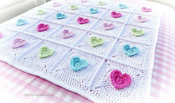 CROCHET BABY BLANKET PATTERN -The All Heart blanket by KerryJayneDesigns