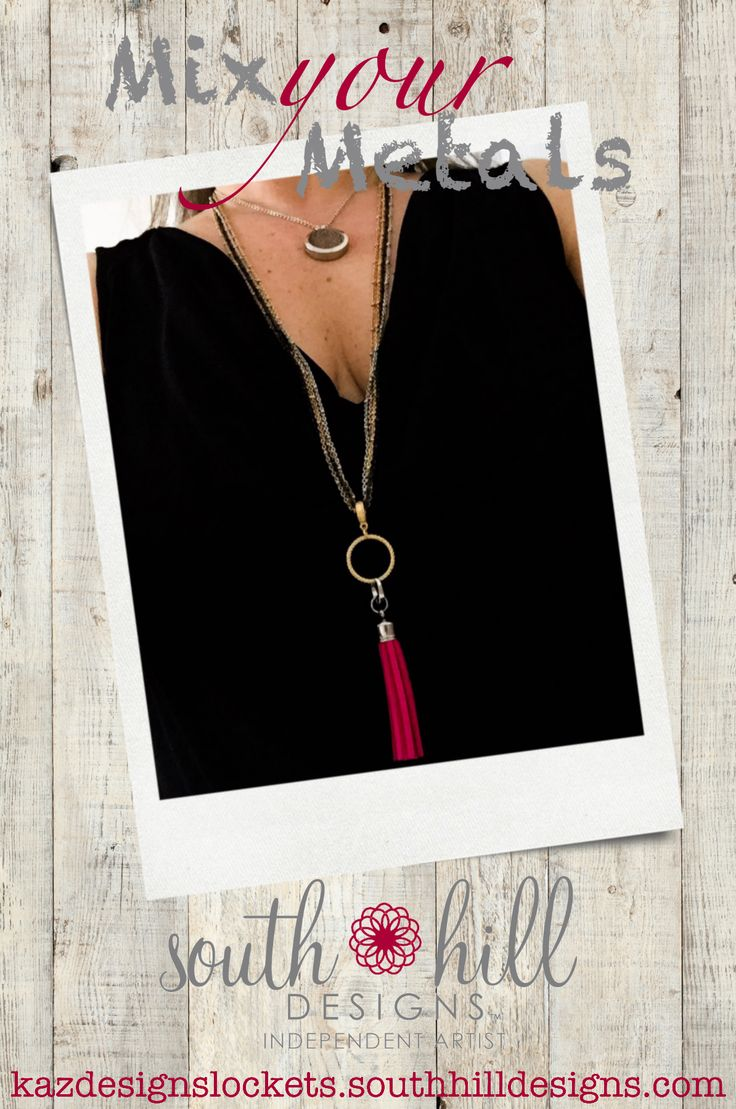 Mix Your Metals with South Hill Designs. Fuchsia tassel on the gold ring station is hanging from all 4 faceted bead chains. Essential Oils locket is on standard chain.