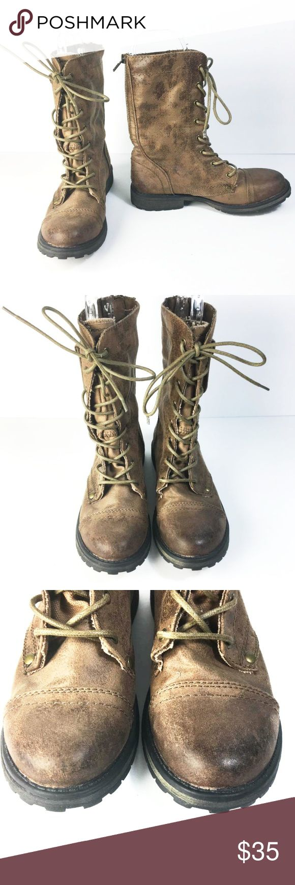 """ROXY Seattle IV Combat Brown Boots Measurements  *Measurements are approximate and for reference only*  10"""" Long, 3.5"""" Wide, 9.5"""" Tall Heel: 1""""  Please note that slight color difference should be acceptable due to the light and screen. Check measurements to insure fit.  BIN5 Roxy Shoes Combat & Moto Boots"""