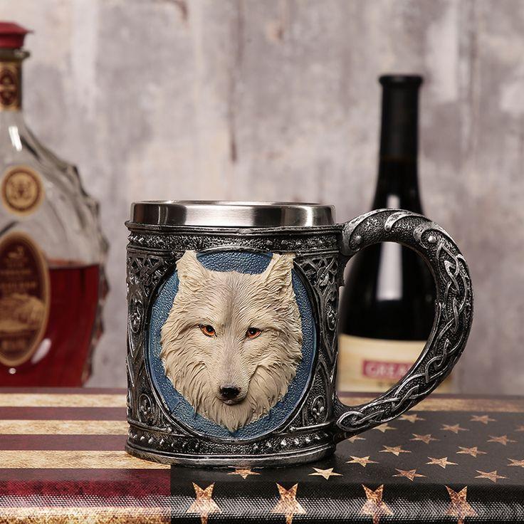 Персонализированные волк кружка с двойными стенками Кофе Кружки Творческий Нержавеющая Сталь Рыцарь Кружка ДРАКОН питьевой Чай чашки Новогодние товары подарок