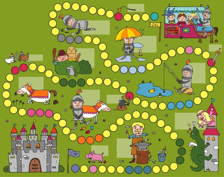 Blank game board for fairy tales & nursery rhymes unit. Anja Boretzki: Spieleposter Benni (board game poster)