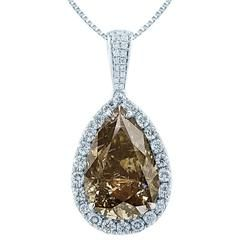 12.36 Carat Pear Fancy Brown diamond Gold Halo Pendant