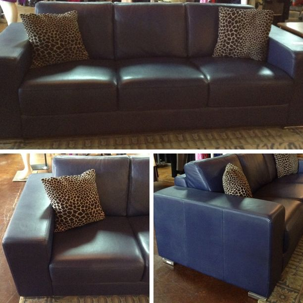 Leather Sofa   Navy Blue Leather Sofa   $908.95