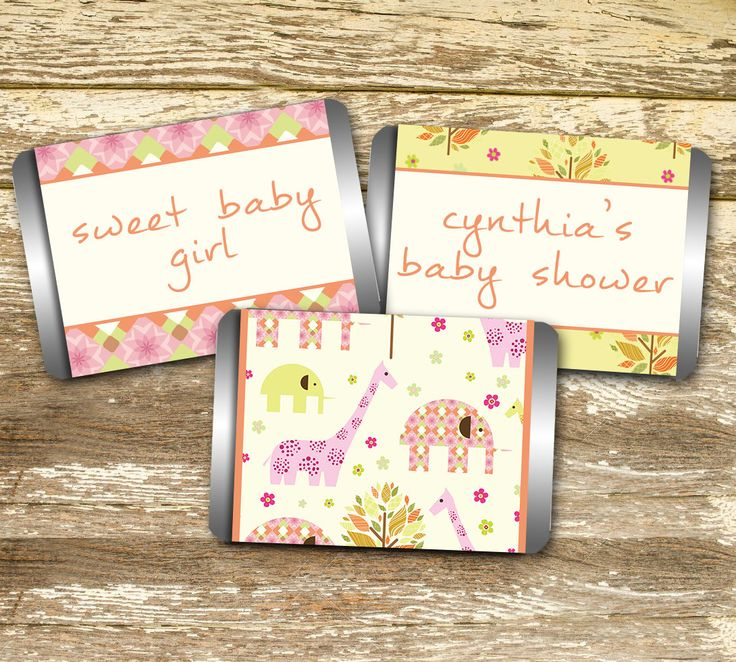Mini Candy Bar Wrapper - Baby Shower Girl, Pink and Yellow Baby Shower, Elephant Baby Shower, Vintage Baby Shower, Personalized Hershey, by LittlePrintsOttawa on Etsy