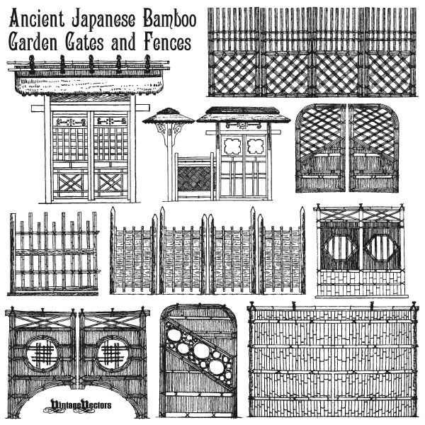 Vector Art Of Ancient Japanese Bamboo Garden Gates And Fences
