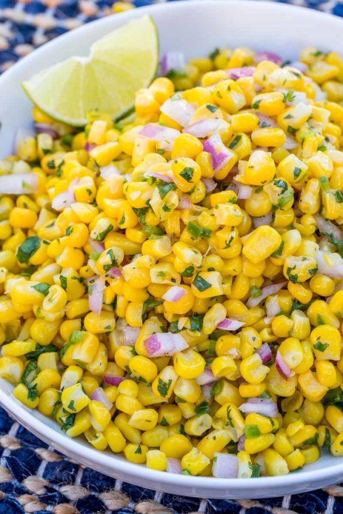 Chipotle Corn Salsa is a delicious and fresh corn salad with jalapeno, lime and red onions just like the salsa served up at Chipotle.