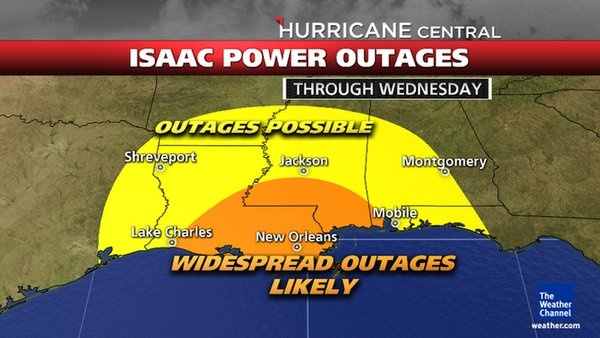Isaac Power Outage Potential