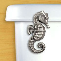 These attractive flush handles are made in Satin Pewter. Dress up your bathroom with a fun accent: This listing is for the Seahorse. Please specify if your handle mounts on the front of the toilet or