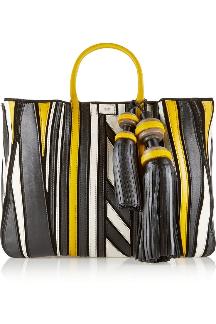 Anya hindmarch Crazy Maxi Belvedere Leather Appliquéd Suede Tote in White (Black) | Lyst