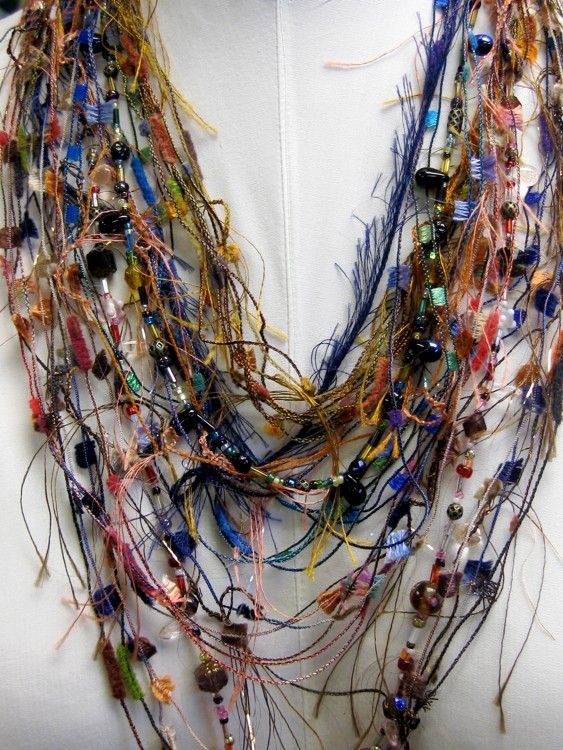 Fiber Art Necklace is cute, different & colorful!