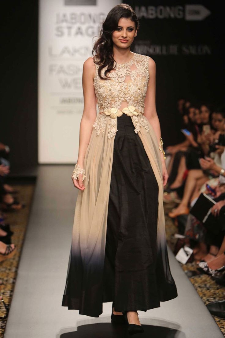 Beige and black shaded embroidered anarkali available only at Pernia's Pop-Up Shop.