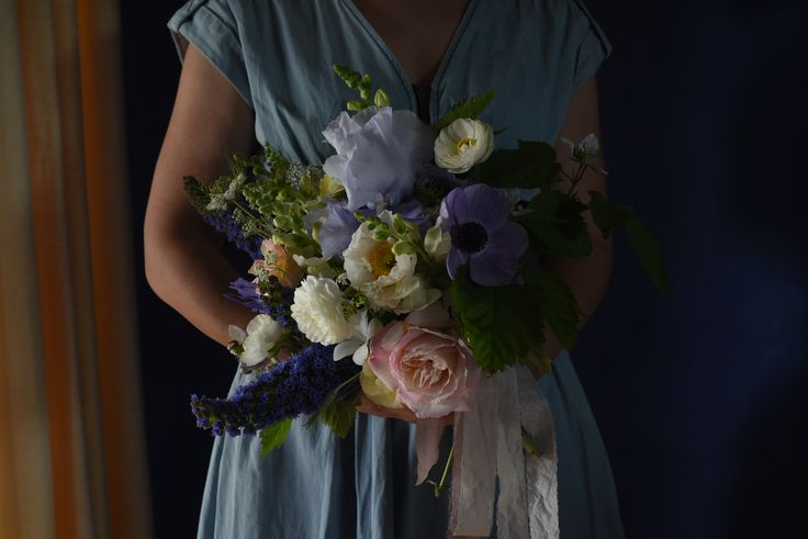 October Wedding, spring flowers, bouquet, blue, pink, blush, Echium, Roses, bearded Iris, Anemone, silk ribbon, Ranunculus