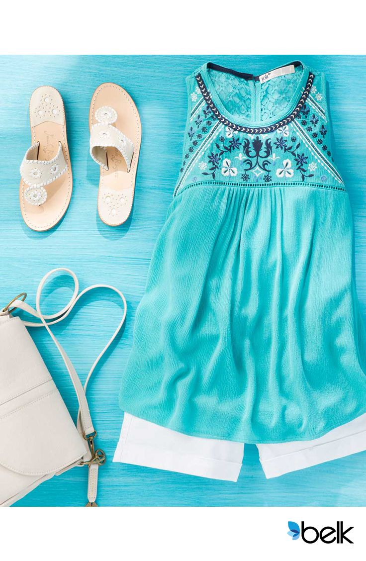 Here's a cute way to make a stunning summer statement! The Jolt Embroidered Yoke Swing Tank is a perfect everyday splash of color. Pair this stylish tank with white shorts or even dark jeans. Get your toes done and show off your new polish with these Jack Rogers Hamptons Navajo Sandals, available in platinum, gold and silver. Shop this look and more at Belk.com.