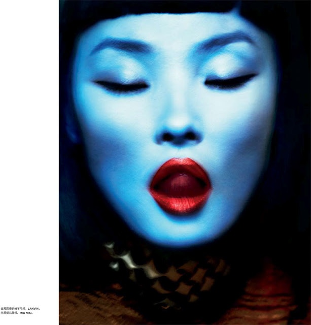 The latest issue of Numéro China takes power dressing to a new level with Txema Yeste's high gloss images starring Miao Bin Si.
