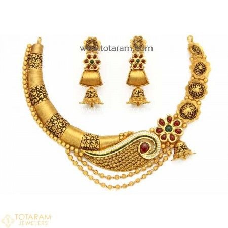 22K Gold Antique Necklace & Drop Earrings Set with Stones - 235-GS2929 - Buy this Latest Indian Gold Jewelry Design in 66.150 Grams for a low price of  $3,374.84