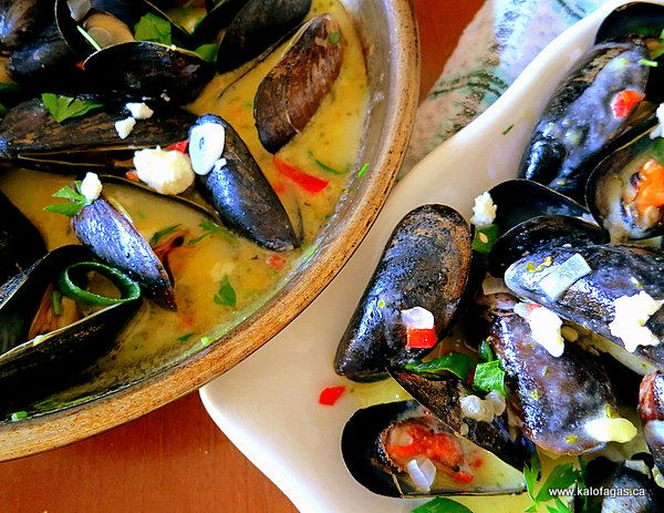 mussels with ginger lemongrass chili and cilantro on rice noodles yum ...