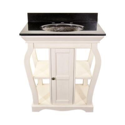 JSG Oceana Vineta 30 in. Vanity in Antique White with Undermount Granite Vanity Top in Black-VIN-VAN-WHT / VCH-UST-BLK - The Home Depot