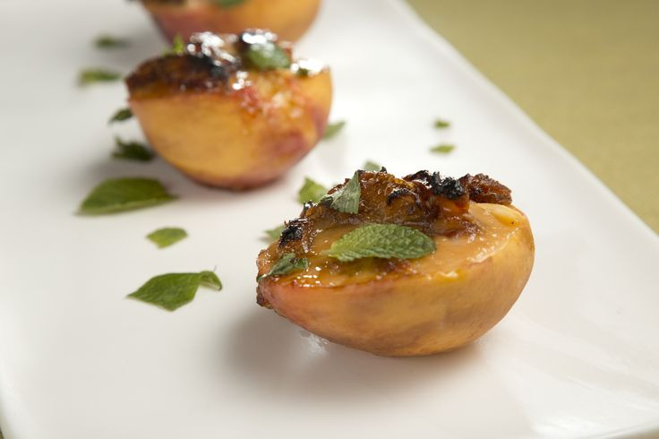Warm Peaches with Creamy Date Sauce