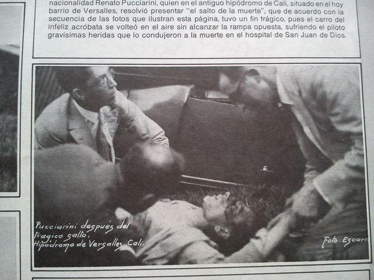 Cali antigua: Renato Pucciarini después del trágico salto que le ocasionó la muerte. Hipódromo de Versalles. 1925. El pie de foto dice: