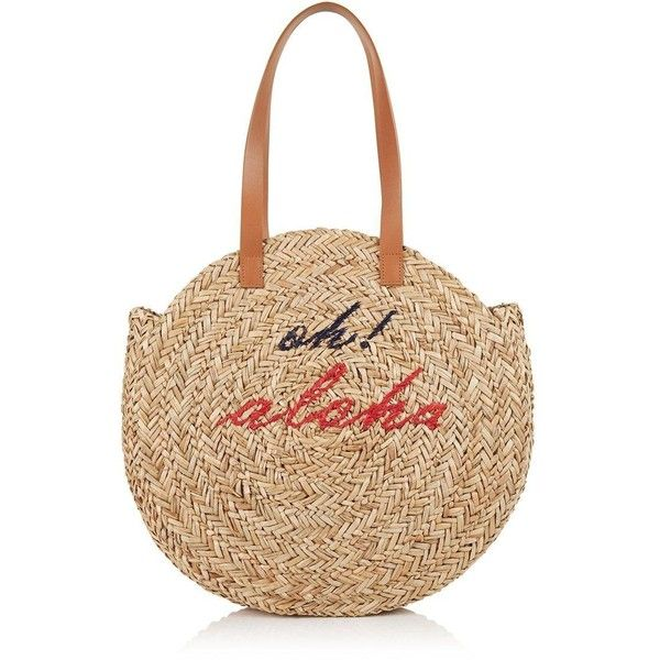Whistles Aloha Natural Straw Circular Tote ($100) ❤ liked on Polyvore featuring bags, handbags, tote bags, natural, handbags totes, handbags tote bags, tote purses, circle purse and beige tote