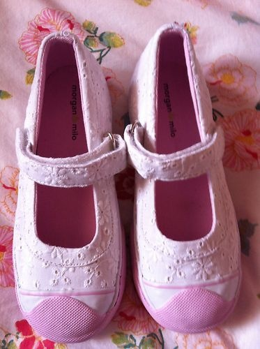 Morgan and & Milo white broderie anglaise mary janes