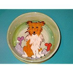 "Dog Bowl, 8"" Border Collie Dog Bowl for Food or Water. Personalized at no Charge. Signed by Artist, Debby Carman."