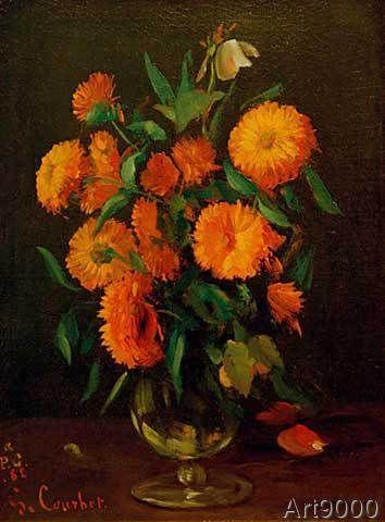 Gustave Courbet - Vase mit Ringelblumen-Calendula