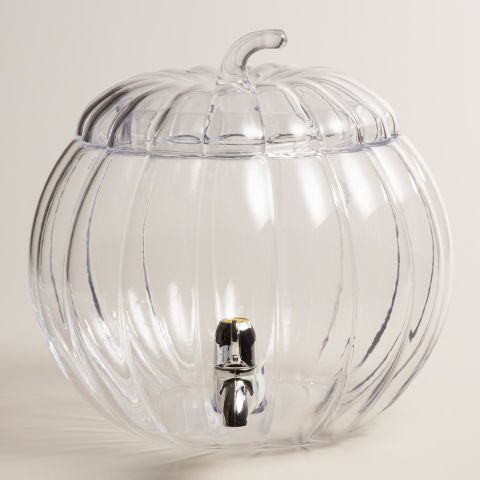 Invite fall party guests to help themselves to libations with this glass pumpkin-shaped drink dispenser. Holding a generous 7 liters, the removable stem top allows you to refill as needed.