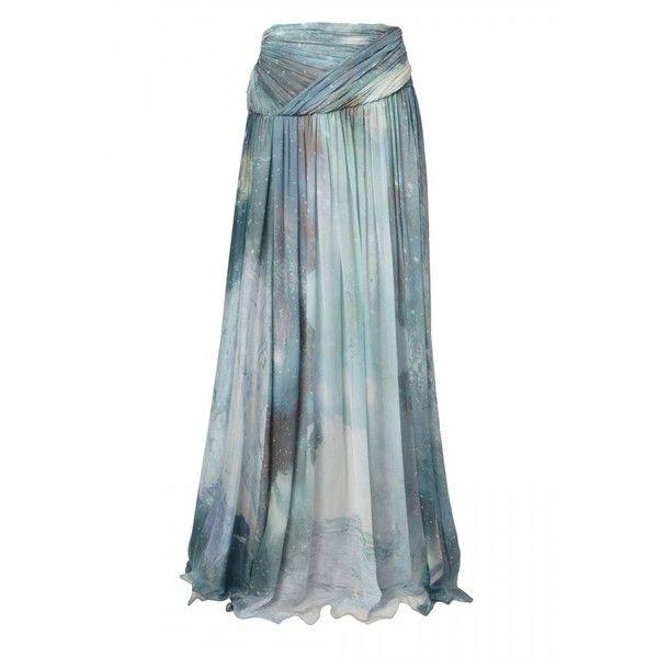 Matthew Williamson Aquamarine Patina Galaxy Chiffon Maxi Skirt ($620) ❤ liked on Polyvore featuring skirts, blue, maxi, galaxy print skirt, maxi skirt, blue skirts, galaxy skirt and chiffon skirt