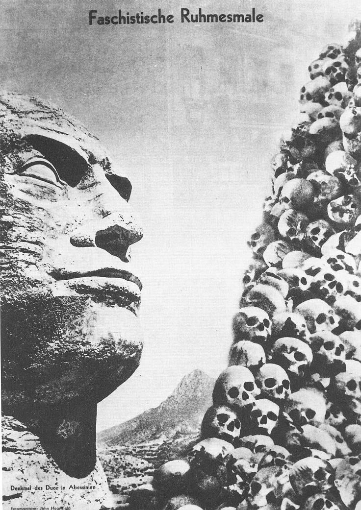 Fotomontage, John Heartfield (1891‑1968). Title. Fascist Monuments of Glory. Faschistische Ruhmesmale. Date 1936.