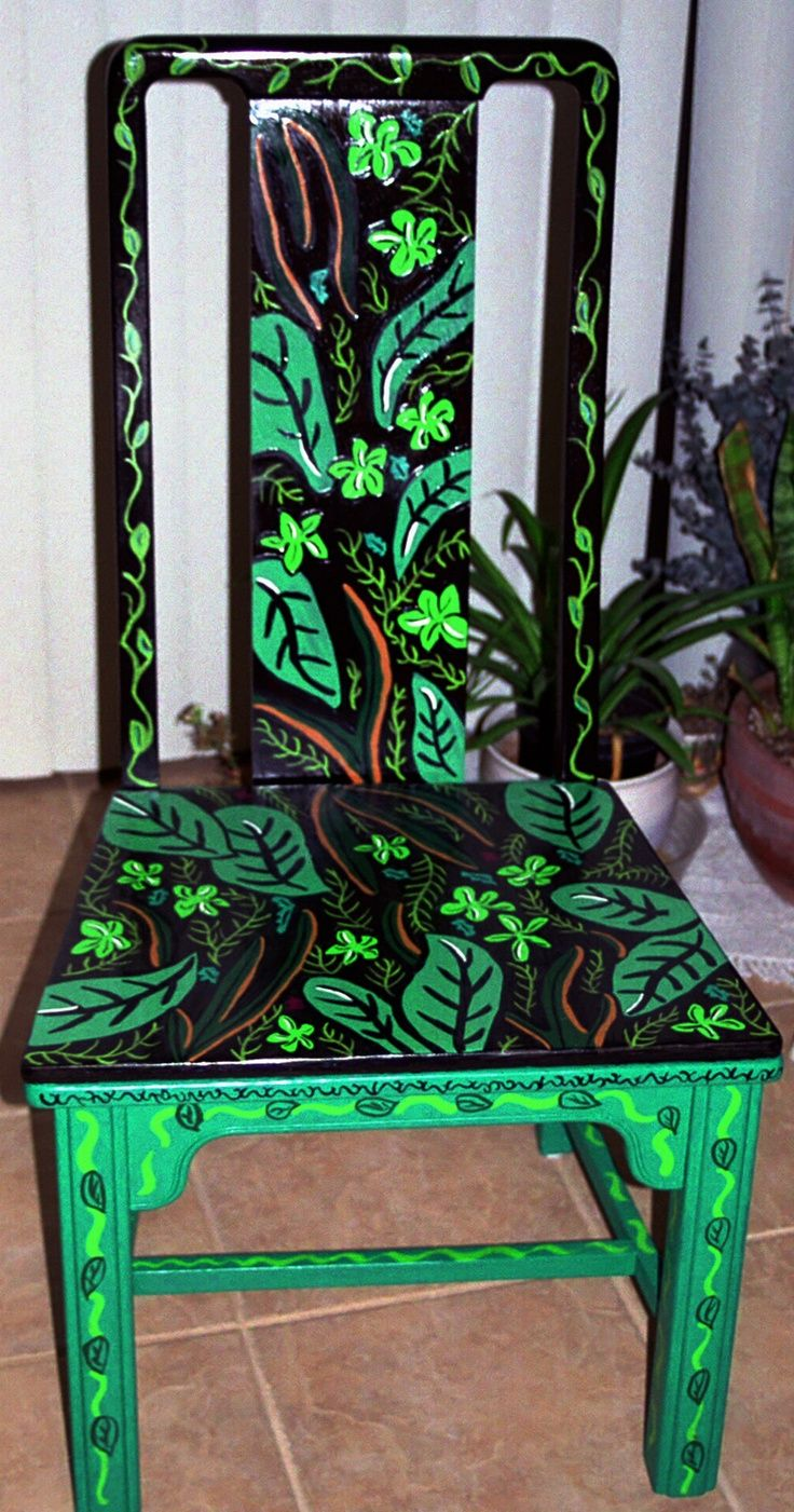Funky painted furniture ideas - Painted Chair By Carrie Butler Similar Idea For Black Stool With Growing Vines From Legs Up