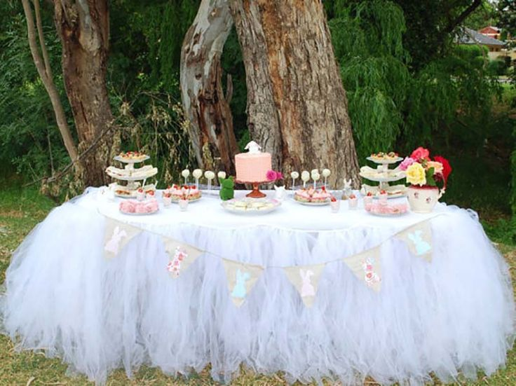 1x Tulle Table Skirt Princess Birthday Party Mult Colors