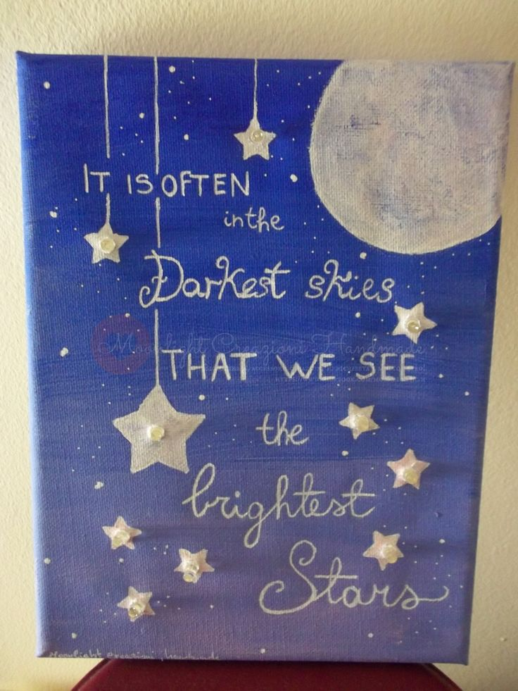 18x24 Hand painted canvas with LED lighting, phrases inspired by stars - READ ALL di MoonlightCreazioni su Etsy
