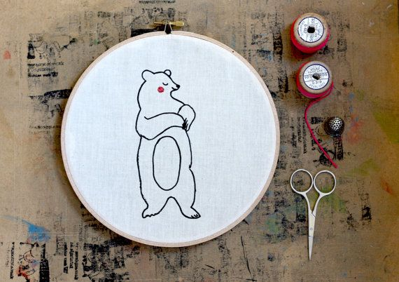 Bear Hoop Art, Embroidery hoop art. Screen Printed Bear, Nursery, Bear Illustration, Hand printed, Screenprinted, Handmade, wall hanging