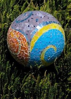 mosaic garden sphere by katherine England
