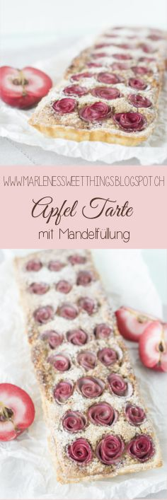 Apfelrosen Tarte mit Mandelfüllung - Apple rose tart with almond filling