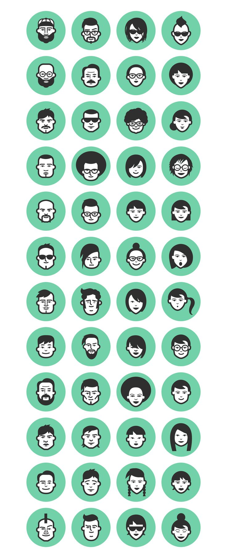 48 Avatar Icons Collection + Font by Little Jimi on Creative Market