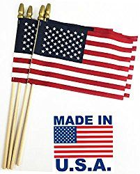 GIFTEXPRESS Set of 12, Proudly MADE IN U.S.A. Small American Flags 4×6 Inch/ Small US Flag/Mini American Stick Flag/USA Stick Flag
